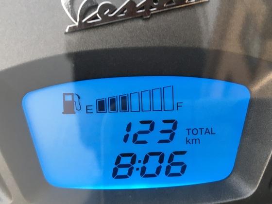 123 km und Kraftstoff Balken :-)